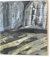 Crops And Clouds Original Wax Encaustic Painting Wood Print