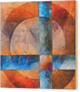 Cross And Circle Abstract Wood Print
