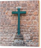 Cross And Cusco Cathedreal Wood Print