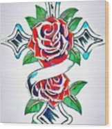 Cross And Roses Tattoo Wood Print