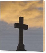 Cross And Sky Wood Print