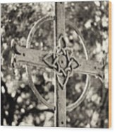 Cross At Dublin Pioneer Cemetery Wood Print