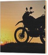 Cross-country Motorbike And Stony, Traveling In Tough Roads Wood Print