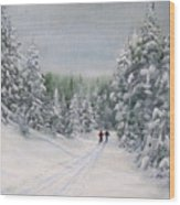 Cross Country Skiers Wood Print