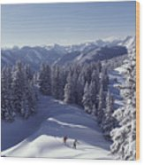 Cross-country Skiing In Aspen, Colorado Wood Print