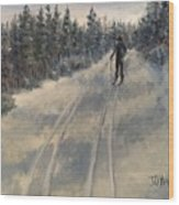 Cross Country Skiing  Wood Print