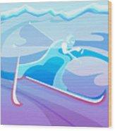 Cross County Skier Abstract Wood Print