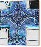 Cross In Blue Wood Print