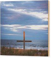 Cross Light Square Wood Print