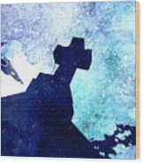 Blue Cross Wood Print