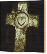 Cross My Heart Wood Print