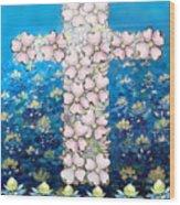 Cross Of Flowers Wood Print