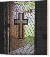 Cross On Church Door Open To Prison Yard Wood Print