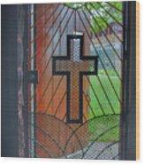 Cross On Church Door Open To Prison Yard With Light Wood Print