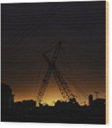 Crossed Cranes Wood Print