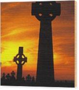 Crosses At Sunset Wood Print