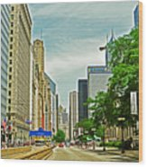 Crossing Chicago's South Michigan Avenue Wood Print