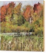 Crossing The Marsh Wood Print