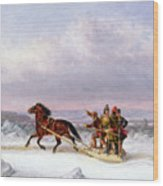 Crossing The Saint Lawrence From Levis To Quebec On A Sleigh Wood Print by Cornelius Krieghoff