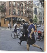 Crossing The Street In Dumbo Wood Print