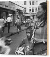 Crossing The Street Mono Wood Print