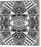 Crossroads To Ornamental - Abstract Black And White Graphic Drawing Wood Print
