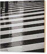 Crosswalk In Rain Wood Print by photo by Jason Weddington