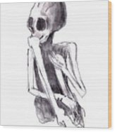 Crouched Skeleton Wood Print by Michal Boubin
