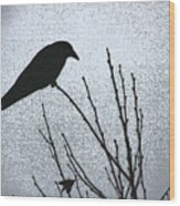 Crow And The Moon Wood Print