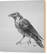 Crow Drawing Wood Print