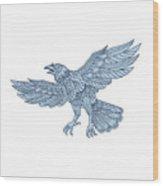 Crow Flying Mandala Wood Print