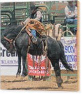 Crow Hopping Saddle Bronc Wood Print