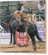Crow Hopping Saddle Bronc Wood Print
