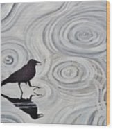 Crow In A Rain Puddle Wood Print