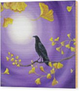 Crow In Ginkgo Leaves Wood Print