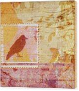 Crow In Orange And Pink Wood Print