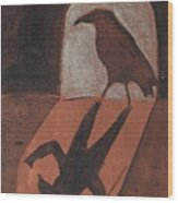 Crow In The Doorway Of Life With Woad Wood Print