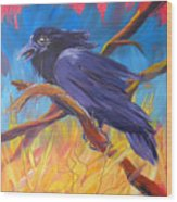 Crow In The Grass 5 Wood Print