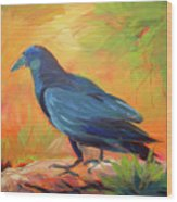 Crow In The Grass 7 Wood Print
