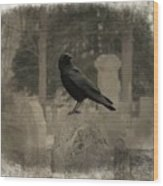 Crow In The Old Graveyard Mix Wood Print