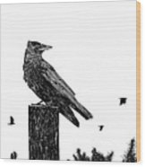 Crow On Fence Post Wood Print
