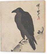 Crow Resting On Wood Trunk Wood Print