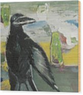 Crow Ruckus Wood Print