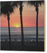 Crowd At Sunset Wood Print