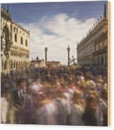 Crowded On St. Mark's Square Wood Print