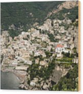 Crowded Slopes Of Amalfi Wood Print
