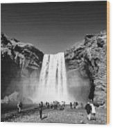 Crowds Of Tourists At Skogafoss Waterfall In Iceland Wood Print