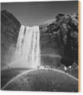 Crowds Of Tourists With Double Rainbow At Skogafoss Waterfall In Iceland Wood Print