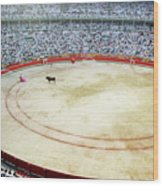 Crowds Watching A Bullfight During The July San Firmin Fiesta In Pamplona Wood Print