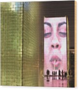 Crown Fountain At Millennium Park Wood Print